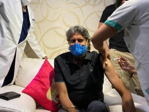 Indian cricket legend Kapil Dev on Wednesday receives the first dose of the Covid-19 vaccine at a renowned city hospital after India head coach Ravi Shastri