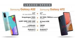 Galaxy A52 and A72