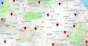 google map showing vaccination centres